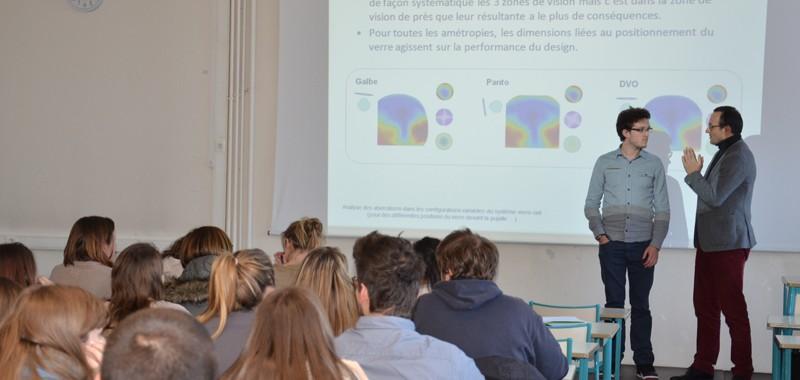 verres personnalisés Essilor, conférence auprès des étudiants opticiens de Bures