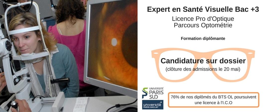 licence pro d'optique parcours optométrie à l'ico école centenaire dans l'optique