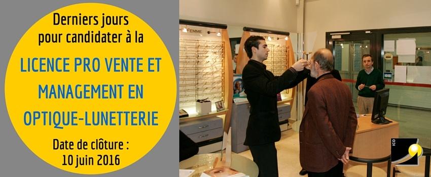 ico formation opticien licence pro optique parcours vente management optique lunetterie candidature