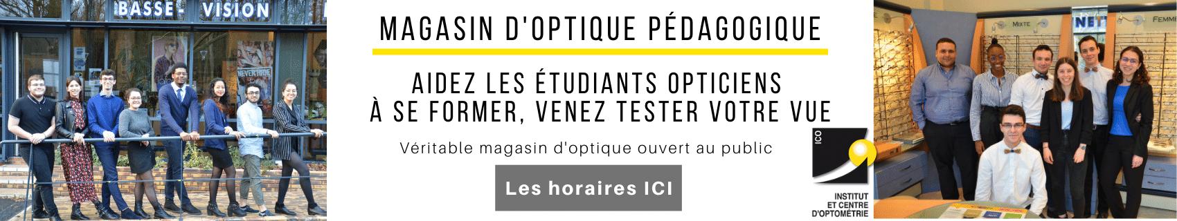 ICO école optique de Bures-sur-Yvette, venez tester votre vue au magasin d'optique pédagogique